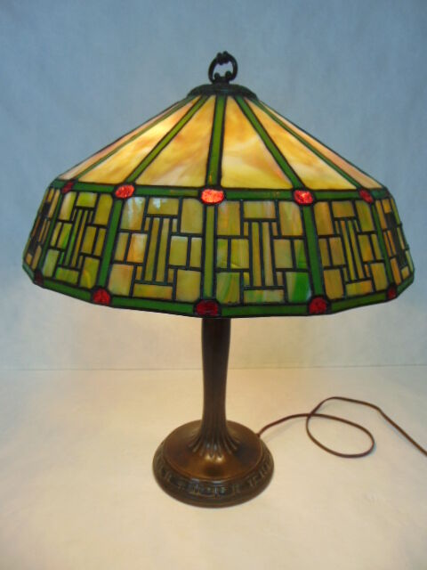 ORIGINAL ANTIQUE MISSION ARTS Amp CRAFTS STAINED SLAG GLASS LAMP BY HANDEL EBay