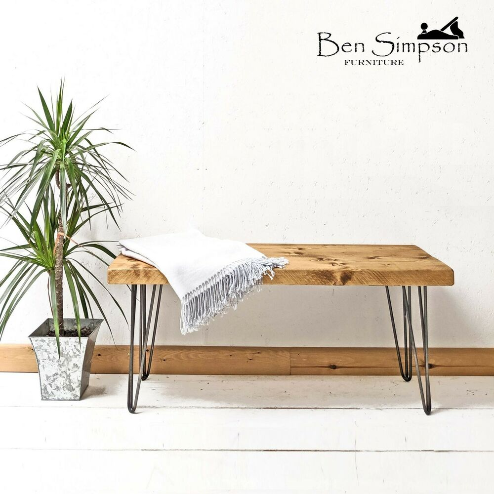 Rustic Chunky Wooden Bench Metal Hairpin Legs Handmade