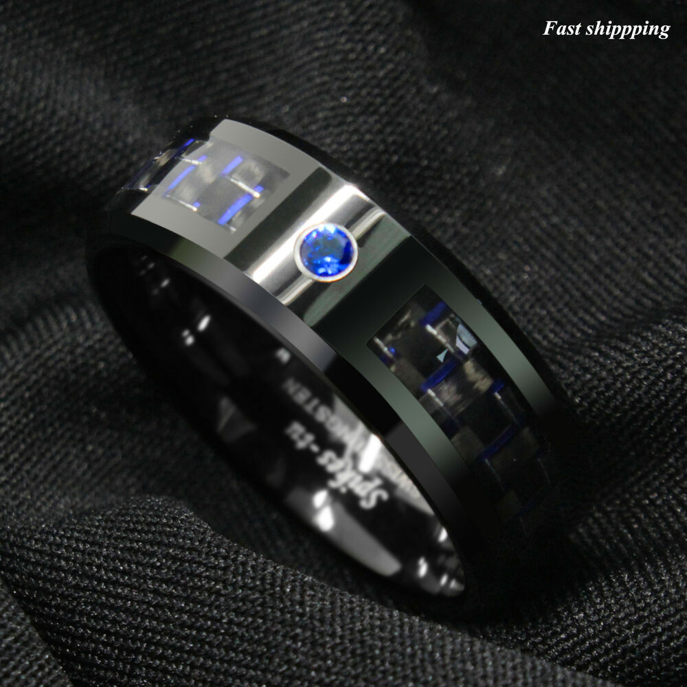 Black And Blue Carbon Fiber Tungsten Ring Blue Diamond