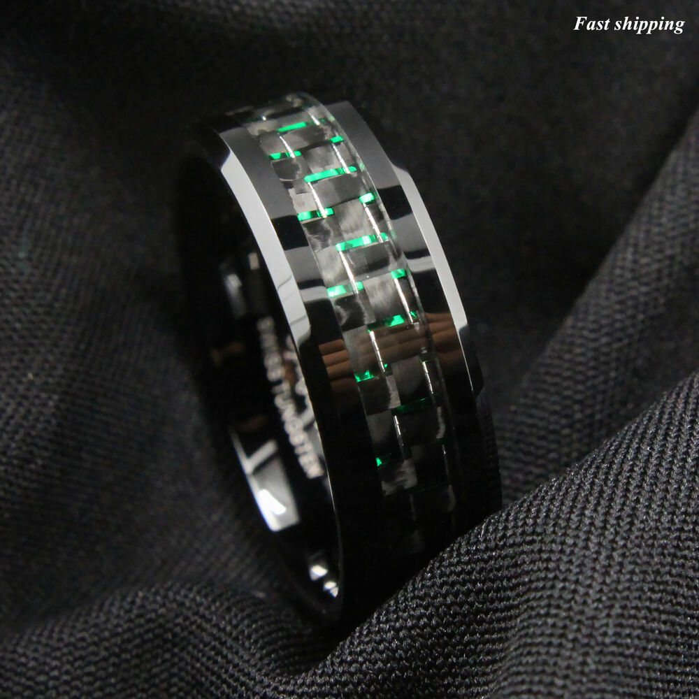 Mens Jewelry 8Mm Tungsten Ring With Black And Green