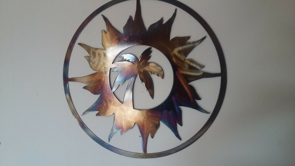 Palm Tree And Sun, Round Metal Art, Wall Decor