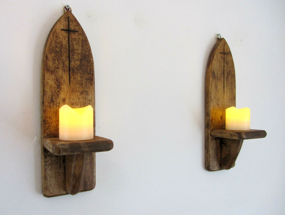 PAIR OF 29CM RECLAIMED PALLET WOOD GOTHIC ARCH WALL SCONCE ... on Large Wall Sconces Candle Holders Decorative id=78284