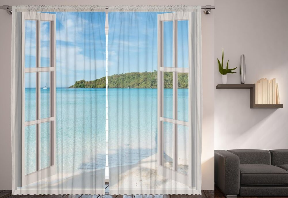Set Of 2 French Door Ocean Window Panels Tropical Island Sandy Beach Curtains EBay