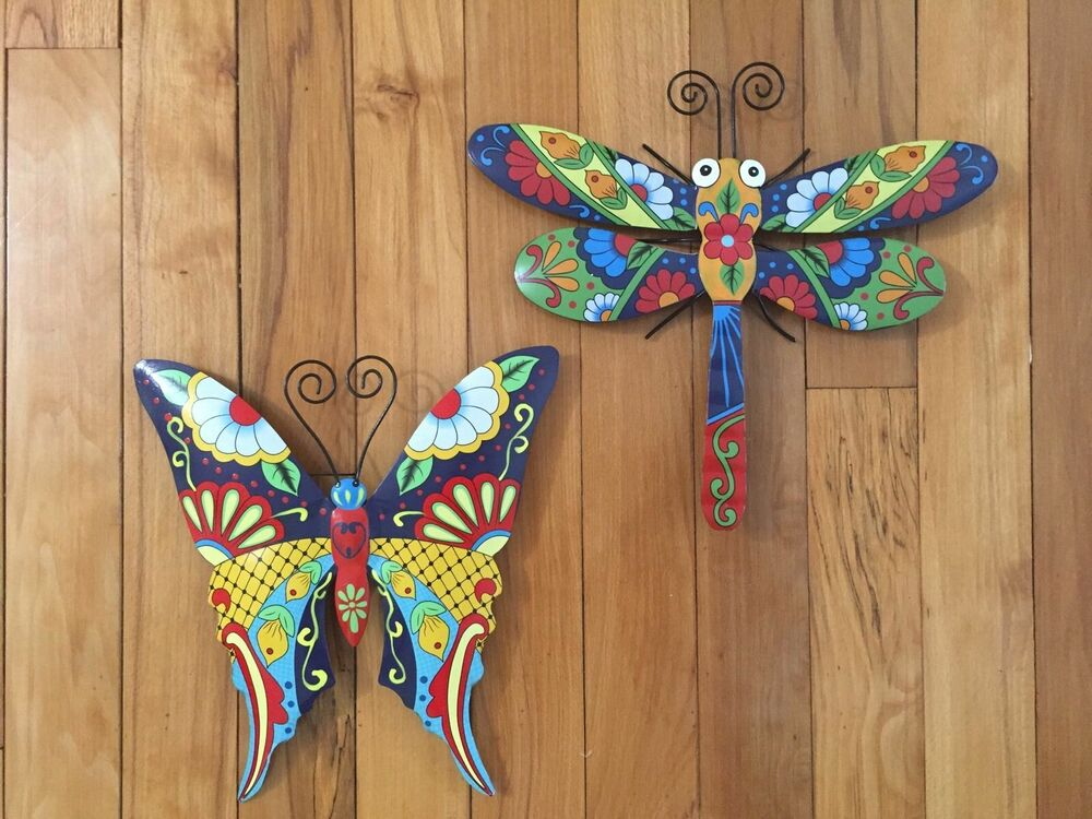 Colorful Dragonfly Metal Outdoor Wall Decor Butterfly