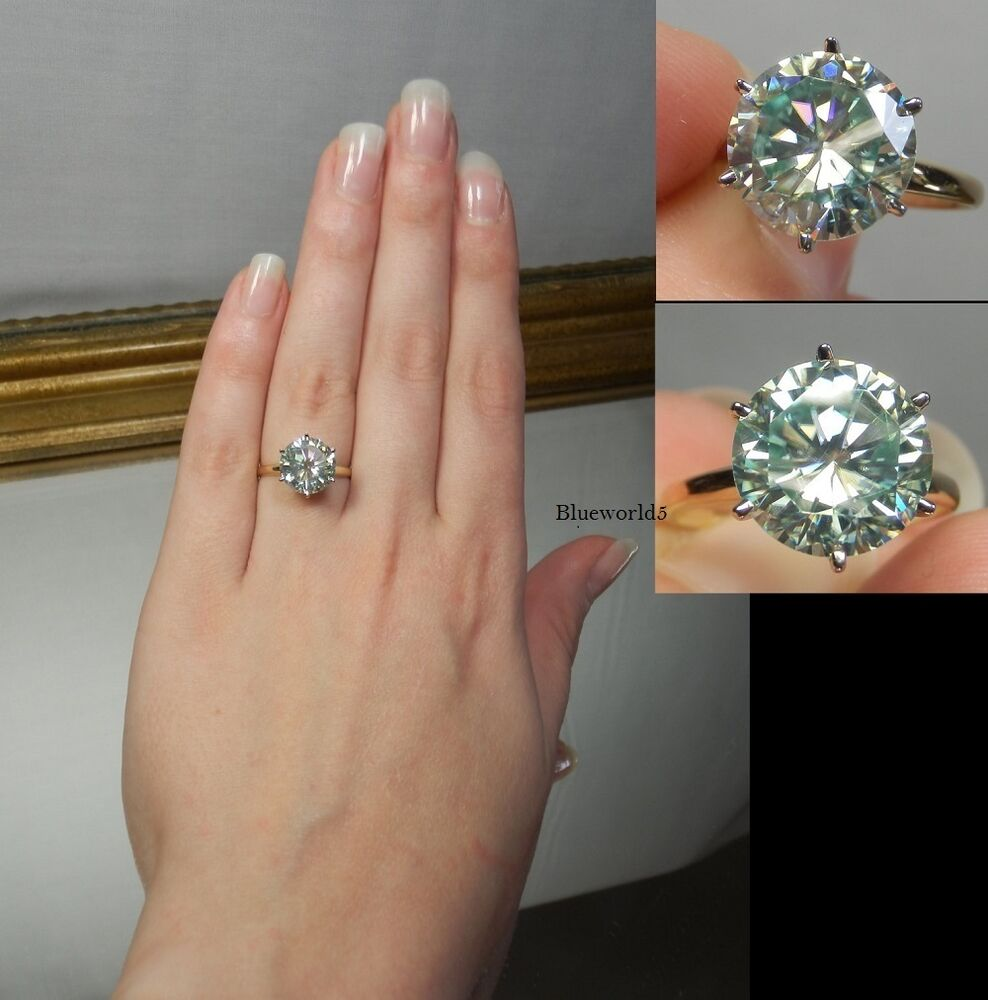 Fiery 3CT Lovely Blue Real Moissanite Engagement Ring 925