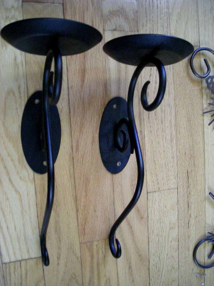 Partylite set of 2 Wall decor black metal sconce candle ... on Decorative Wall Sconces Candle Holders Centerpieces Ebay id=53023