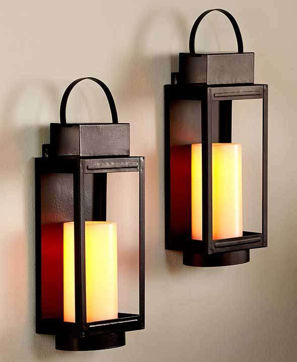 REMOTE CONTROL LED STAGECOACH CANDLE LANTERN WALL SCONCES ... on Wall Sconce Lighting Decor id=77960