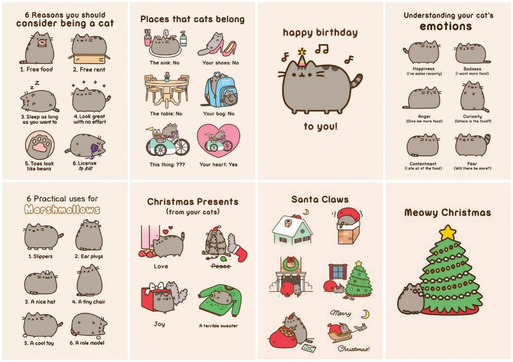 Cute Pusheen The Cat Cartoon Birthday Christmas Blank
