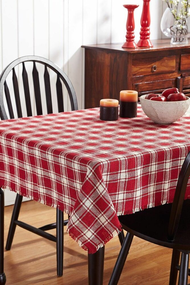BRECKENRIDGE Country Plaid Cotton Burlap Tablecloth Red Amp Cream Choice Of Sizes EBay