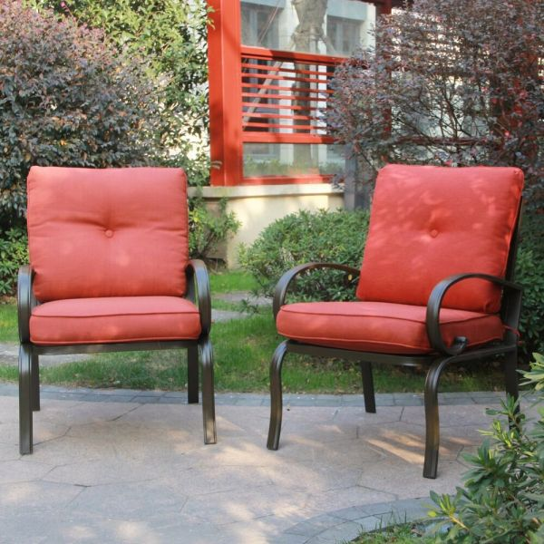 outdoor patio chairs Set of 2 Outdoor Dining Chair Patio Club Seating Chair