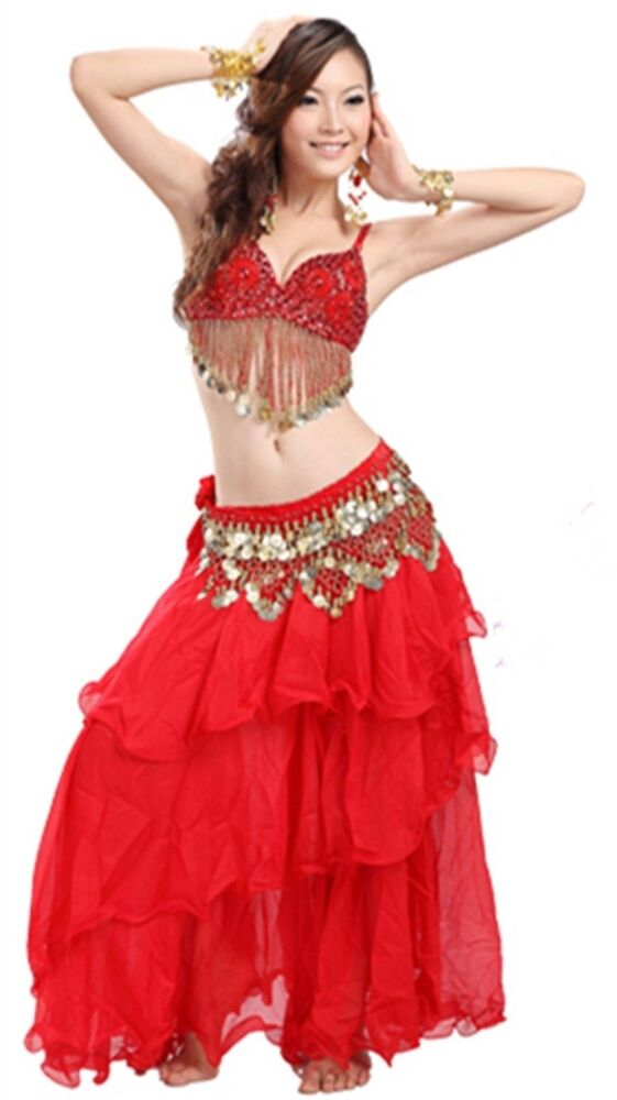 Belly Dance Costumes Outfit Set Bra Top Belt Hip Scarf ...