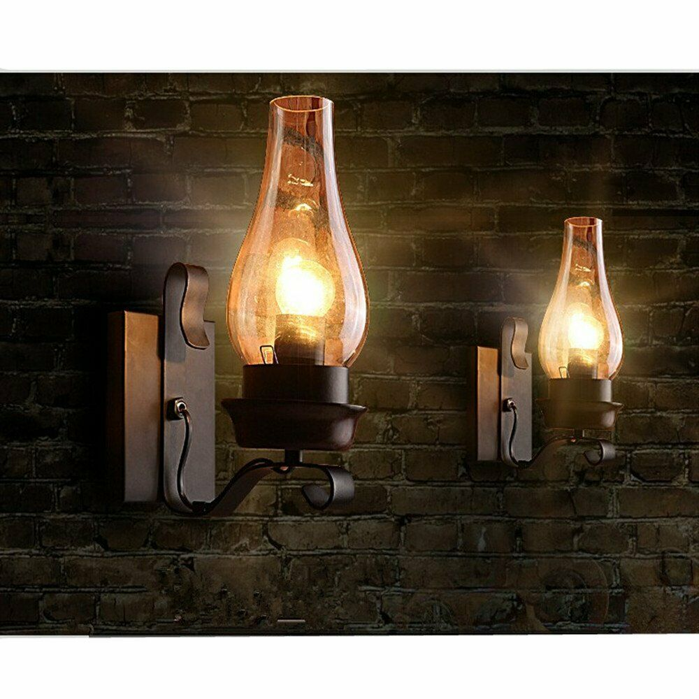 Vintage Rustic Single light Metal Wall Sconce Glass ... on Rustic Wall Sconces id=49468
