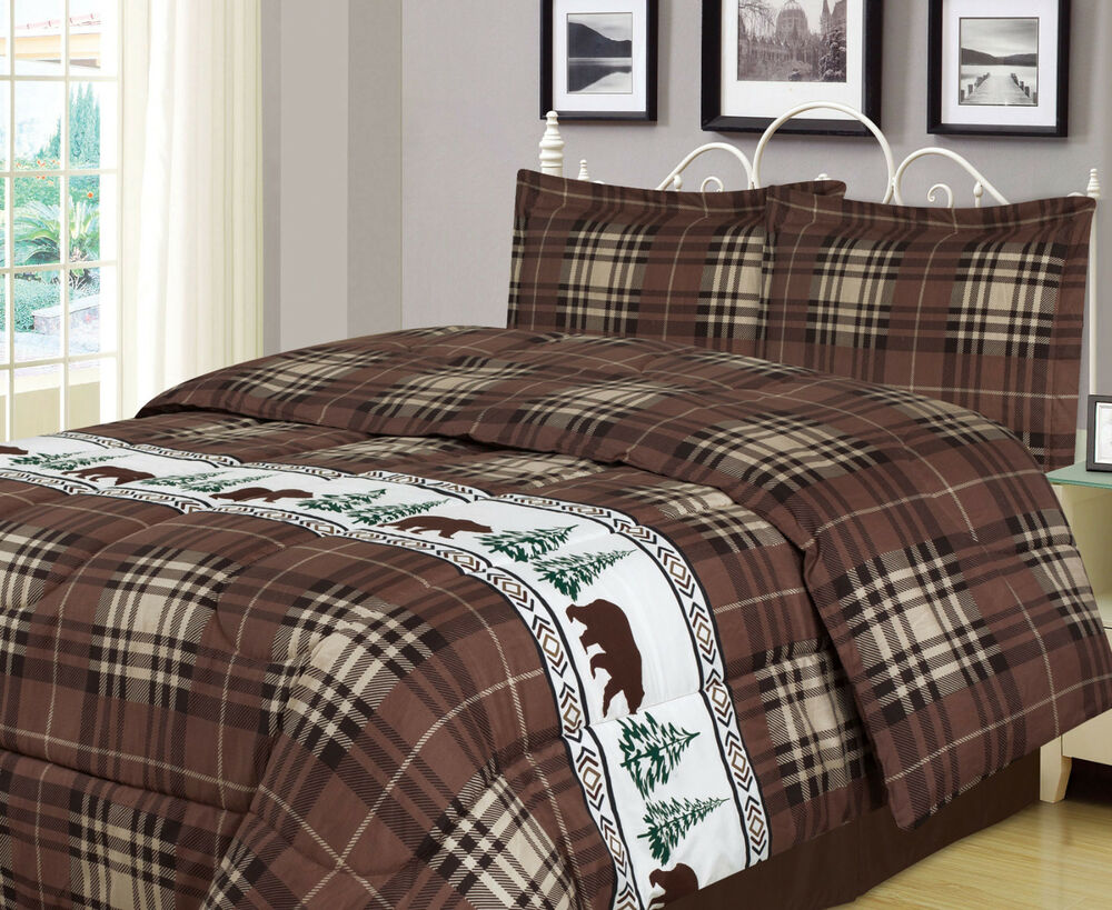Twin, Full/Queen, Or King Plaid Bear Comforter Set Rustic