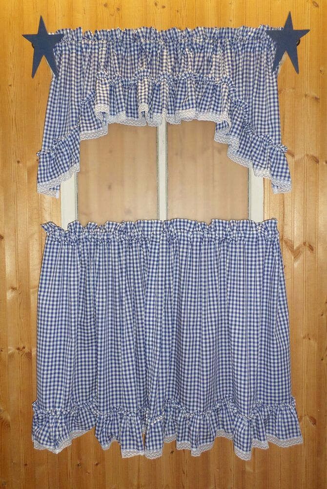 Country Gingham Check Ruffled Curtain Tiers Cafes Tiers