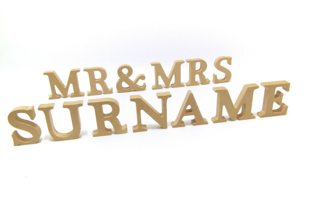 Wedding Mr & Mrs With PERSONALISED Surname Wooden