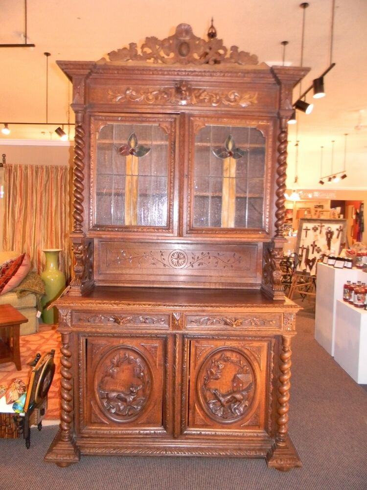 Bavarian Quot Hunt Lodge Quot Cabinet Handmade Solid Oak Hand Carved W Stainglass Doors Ebay