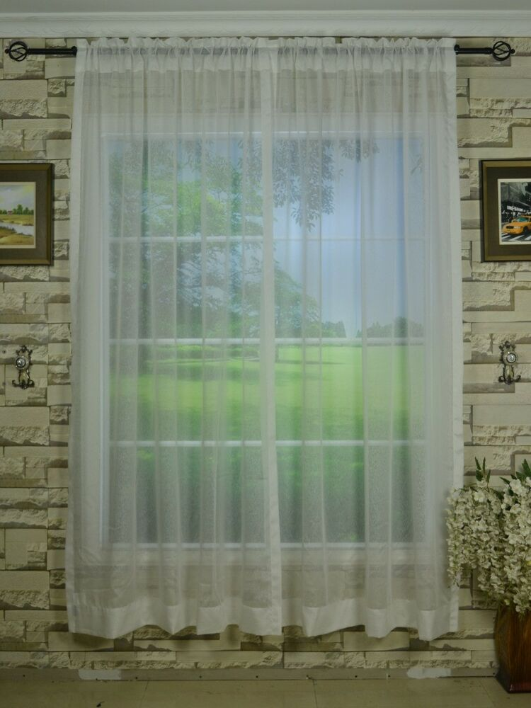 Mirage Floral Embroidered Rod Pocket White Sheer Curtains 55x84 Sheer Curtain EBay