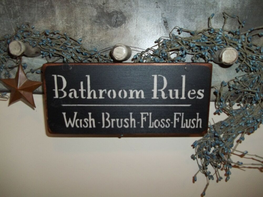 Wood Sign BATH ROOM Prim/Country Distressed Rustic Wood ... on Home Wall Decor Signs id=49920