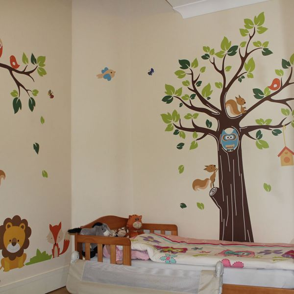 Kids Jungle Nursery Tree Animals Birds Owl Vinyl Wall ...