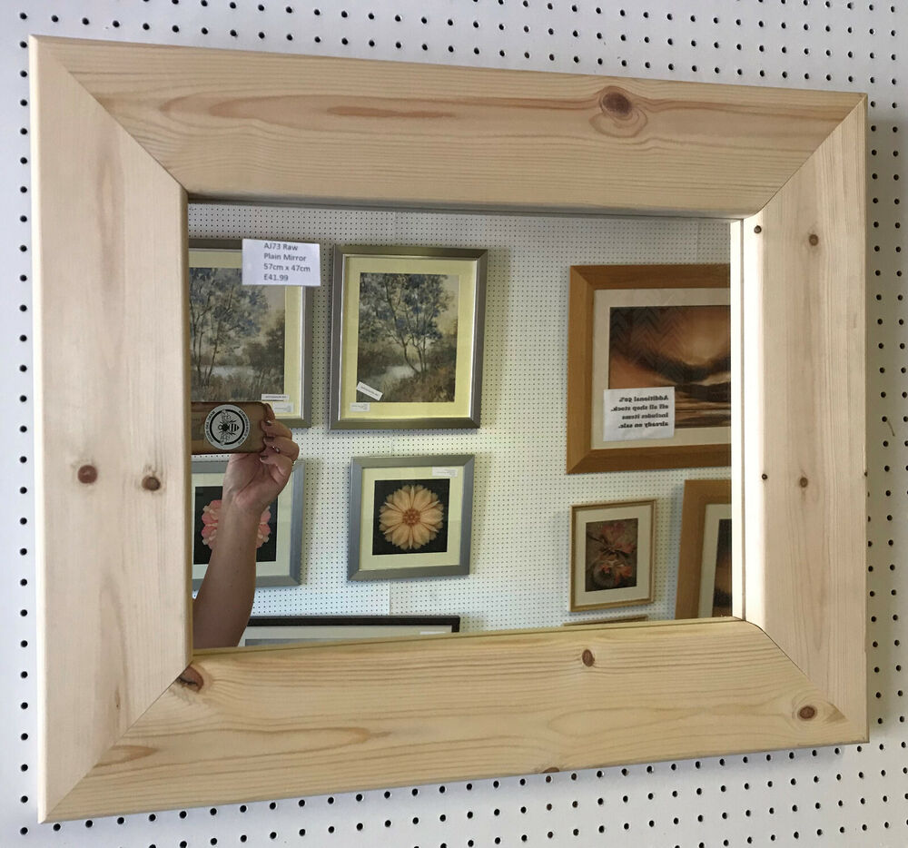 LARGE CHUNKY UNFINISHED SOLID PINE OVERMANTLE WALL MIRRORS