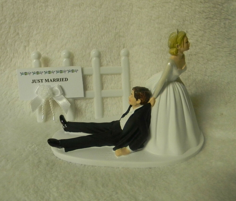 WEDDING White Pickett Fence Bride Dragging Groom Just