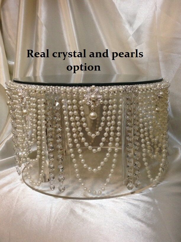 Vintage Pearl Amp Crystal Cake Stand For Wedding Cakes Gold