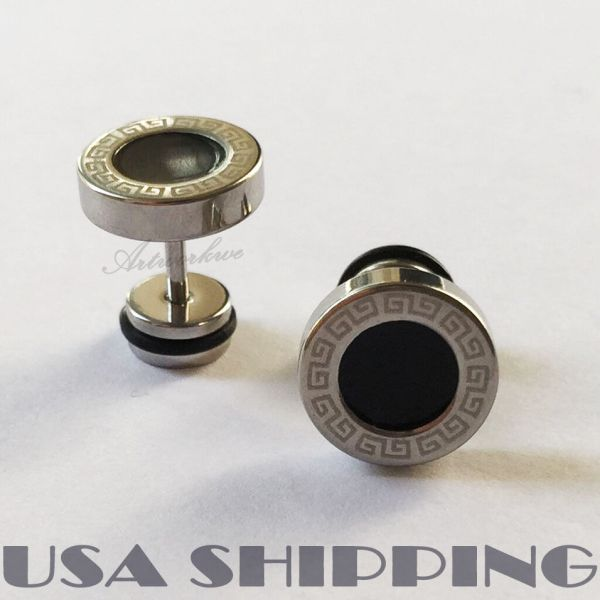 Black Round G Pattern 316L Stainless Steel 10mm Men ...