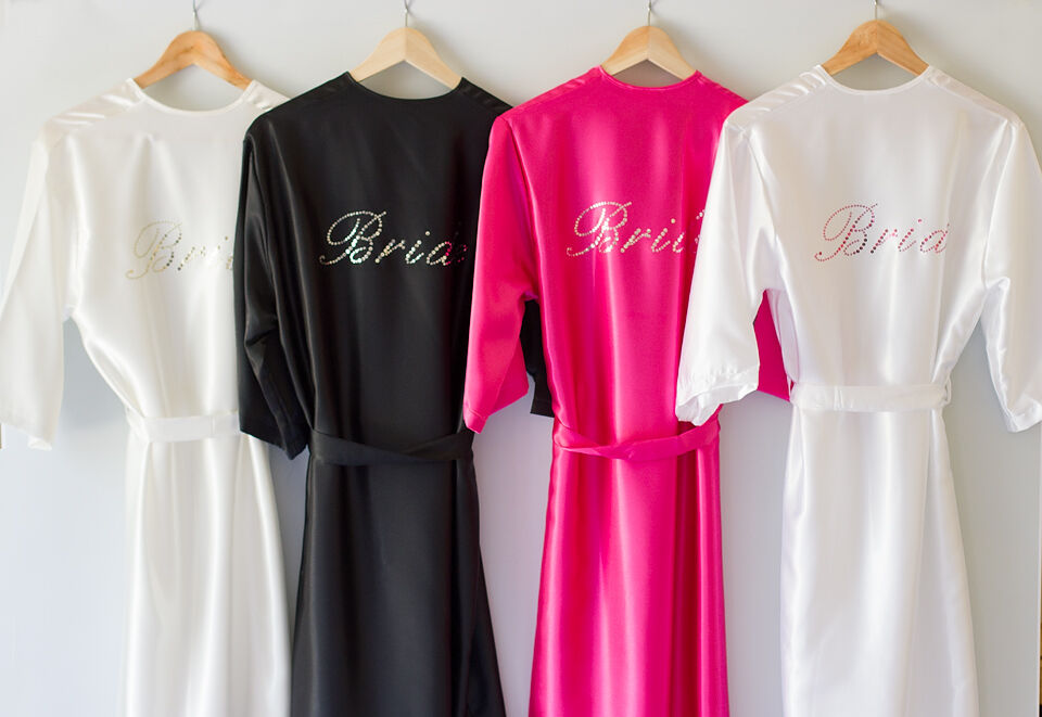 Personalised Bride, Bridesmaid, Satin Robe, Dressing Gown