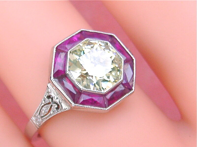 ART DECO 1.63ct LIGHT YELLOW EURO DIAMOND OCTAGON RUBY