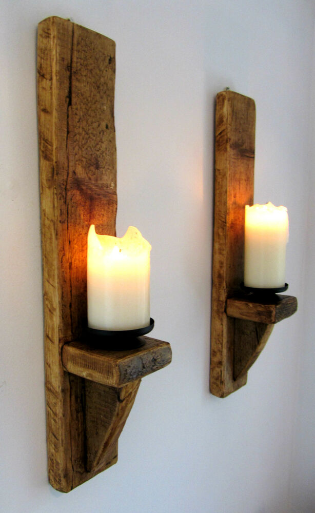 2X LARGE 60CM RUSTIC SOLID WOOD HANDMADE SHABBY CHIC WALL ... on Large Wall Sconces Candle Holders Decorative id=68765