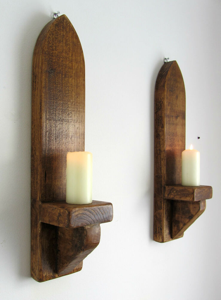 PAIR OF 53CM RUSTIC SOLID WOOD ANTIQUE WAX GOTHIC ARCH ... on Decorative Wall Sconces Candle Holders Chrome id=74793
