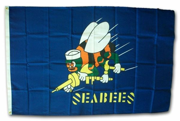 3x5 Seabees Sea Bees Blue Navy Flag 3x5 Banner Brass