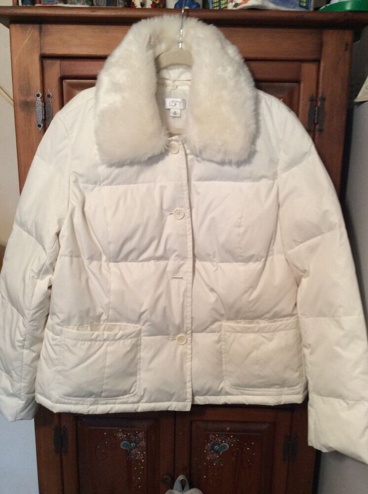 ANN TAYLOR LOFT White Quilted Puffer Jacket With Removable Faux Fur Collar XL EBay