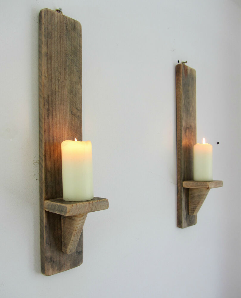 PAIR OF 50CM RECYCLED PALLET WOOD SHABBY CHIC WALL SCONCE ... on Wood Wall Sconces id=70090
