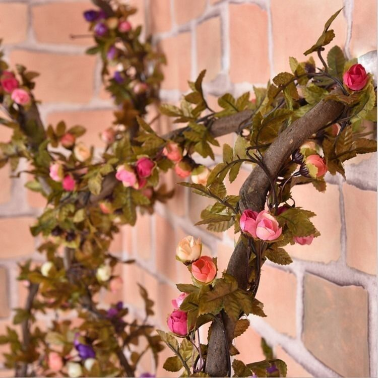 2.2m Artificial Silk Rose Flower Vine Wall Hanging Ivy ... on Hanging Wall Sconces For Flowers id=32449
