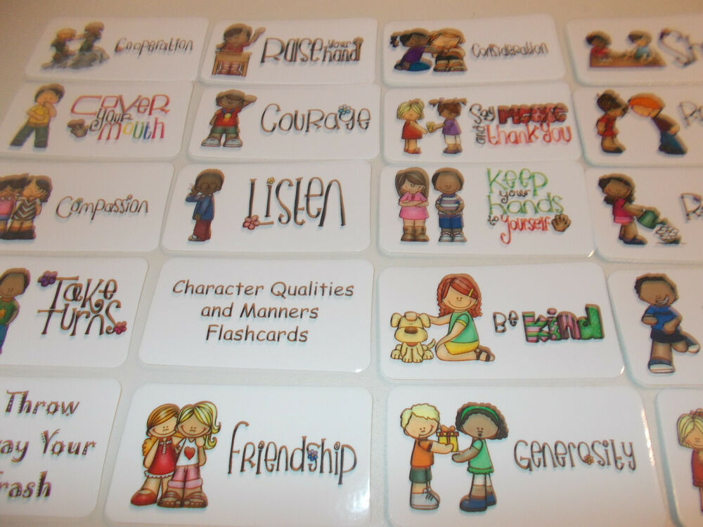 Manners Themed Flash Cards Preschool Picture And Word