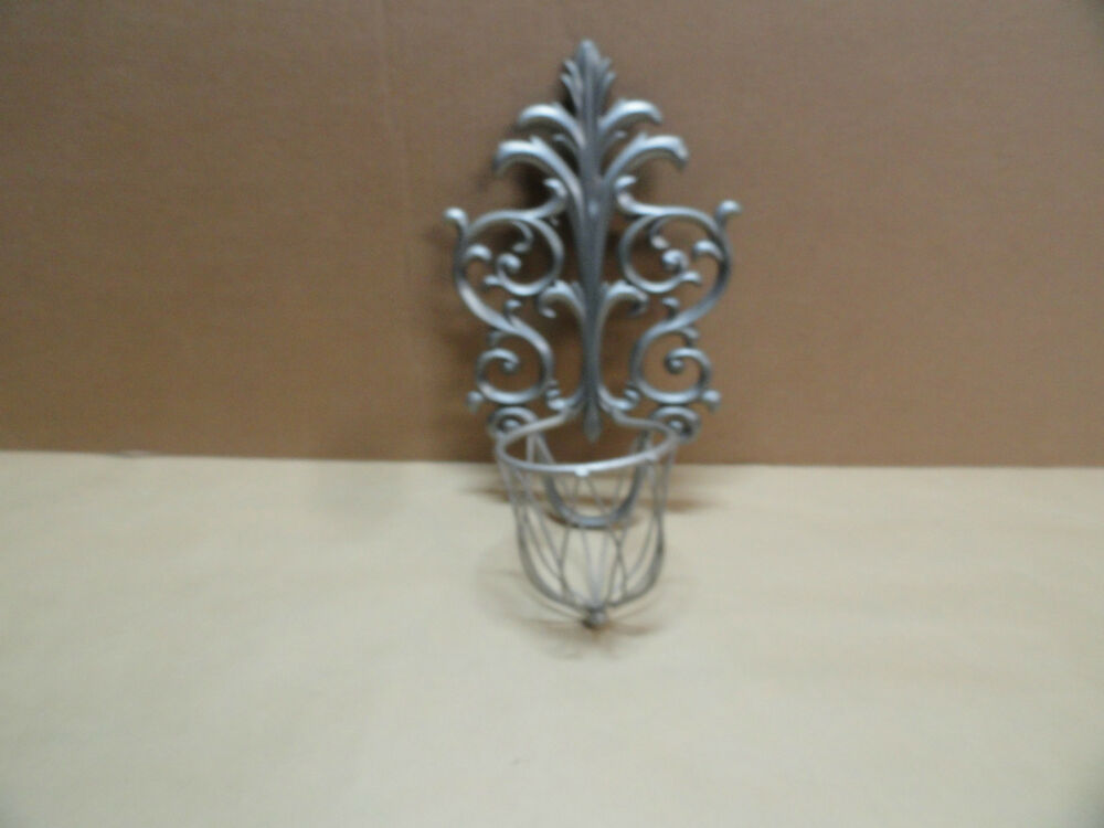 Filigree style Wall Candle Sconce Holder Silver Metal with ... on Decorative Wall Sconces Candle Holders Centerpieces Ebay id=12401