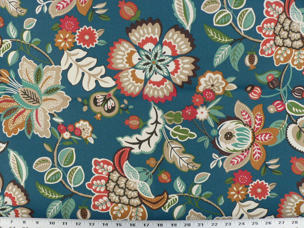 Drapery Upholstery Fabric Indoor/Outdoor Jacobean Floral