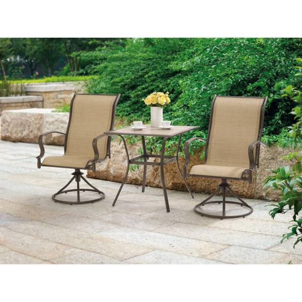 outdoor patio chairs Outdoor 3 Piece Bistro Set Swivel Chairs Table Garden