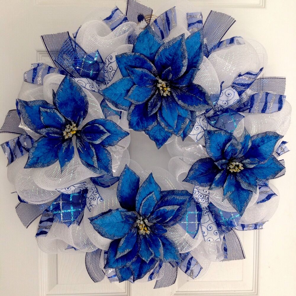 Blue And Silver Poinsettia Holiday Deco Mesh Wreath