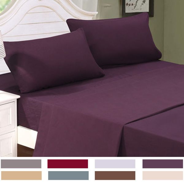12Colors 4PC Cal California King Size Bed Sheet Set