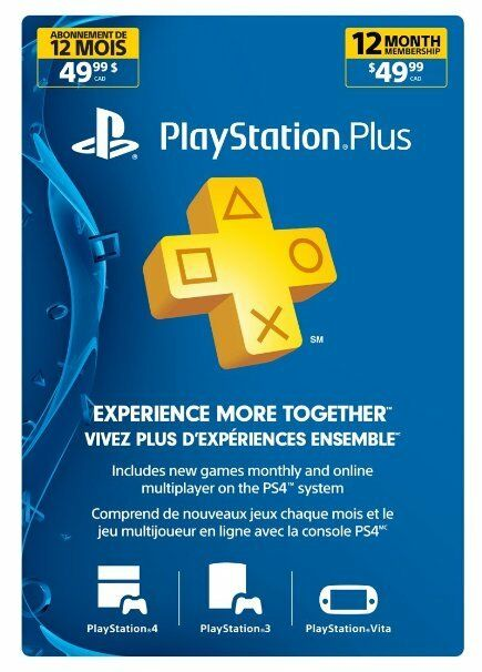 Playstation Plus 1 Year 12 Month Membership Canada US Or