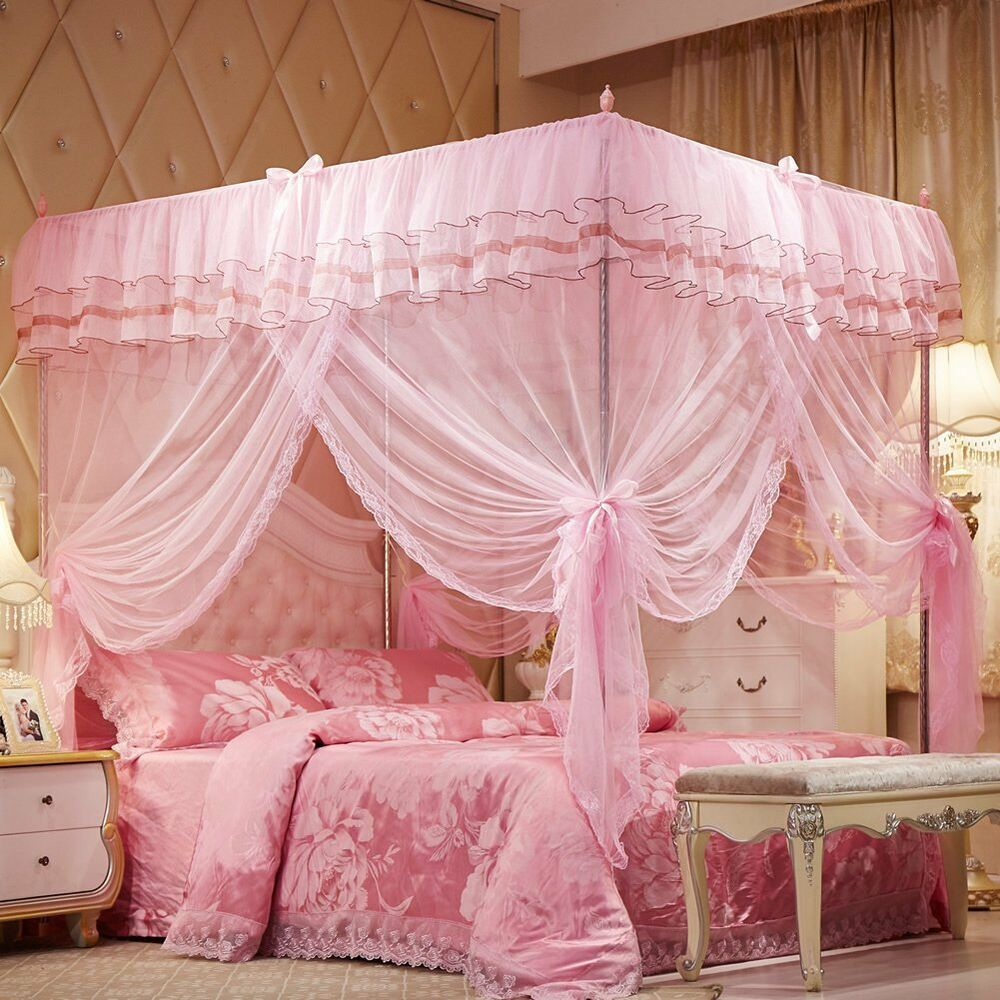 princess lace bed canopy mosquito net poster ruffles pink Pink Canopy For Twin Bed id=22087