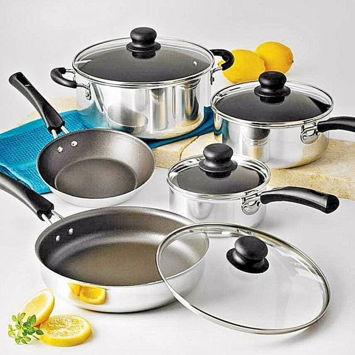Cookware Set Cooking Nonstick Pots Pans Piece Kitchen Polished