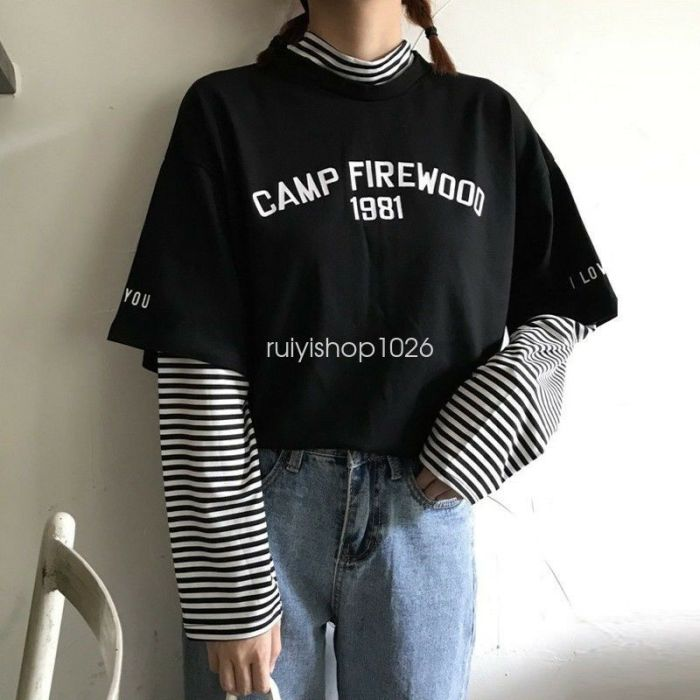 Korean College Women Casual Loose Letter Striped Long