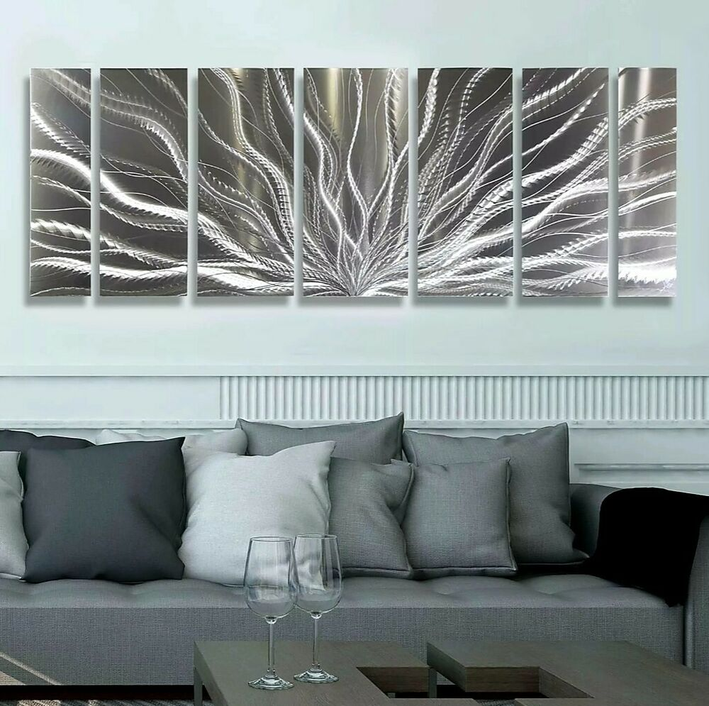 Modern Silver Abstract Metal Wall Art Sculpture Galactic