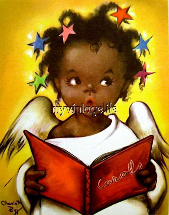 Cute African American Christmas Angel Singing Quilting