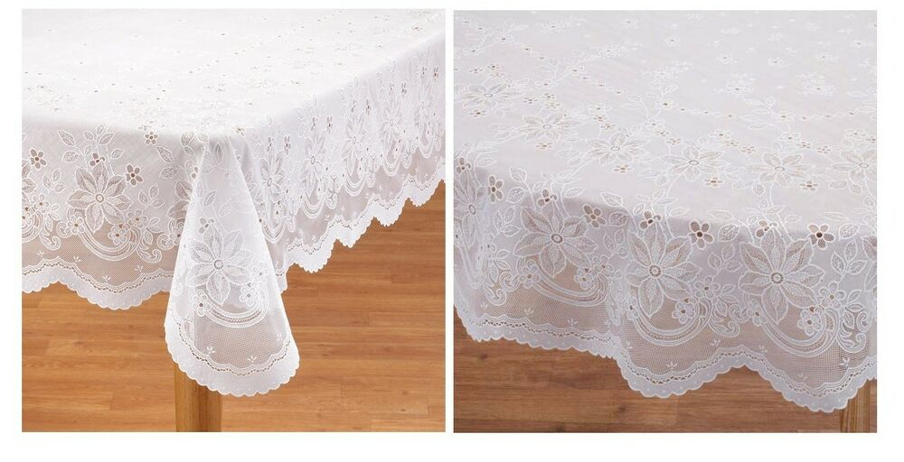 Elegant Vinyl Lace Tablecloth Easy Clean And Durable Crochet Vinyl Lace Design EBay