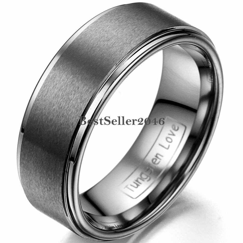 8mm Wedding Band Matte Center Comfort Fit Mens Jewelry