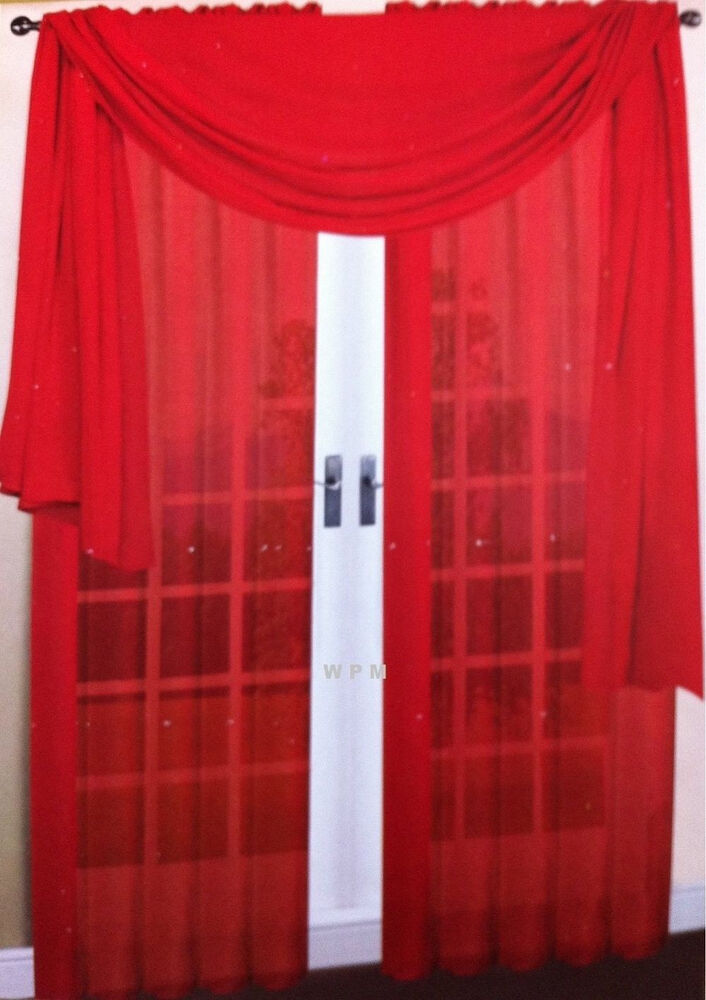 A SET OF TWO 2 BRIGHT RED SCARF SHEER VOILE WINDOW CURTAIN DRAPES VALANCE EBay